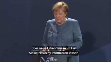 Ангела Меркель во время заявления по делу Навального (иллюстрация - стоп кадр видео Бундестага)