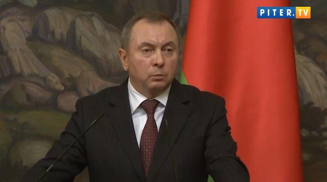 Глава белорусского МИД Владимир Макей во время заявления о санкциях против граждан Прибалтики (иллюстрация из открытых источников)