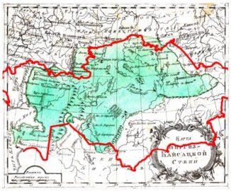 Карта Киргиз-Кайсацкой степи из Атласа Российской Империи 1793 года с наложением границ современного Казахстана (иллюстрация из открытых источников в Интернет)