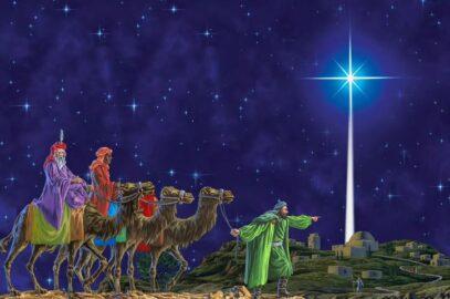 Волхвы и Вифлеемская звезда (иллюстрация из открытых источников)