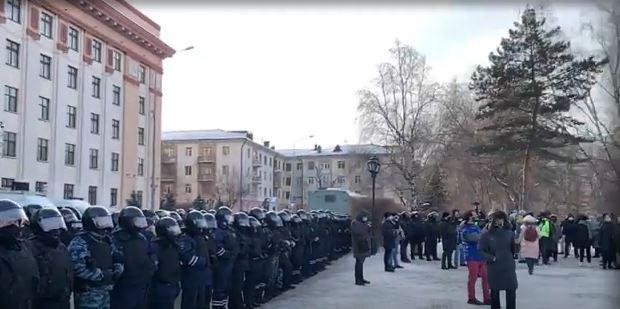 Акции протеста в поодержку А. Навального в Москве 31 января 2021 г. (скриншот видео)