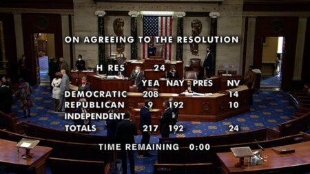 Результаты голосования за импичмент Трампа (стоп-кадр телетрансляции)