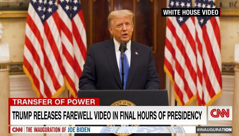 Стоп-кадр видео прощальной речи президента Трампа из Белого Дома США