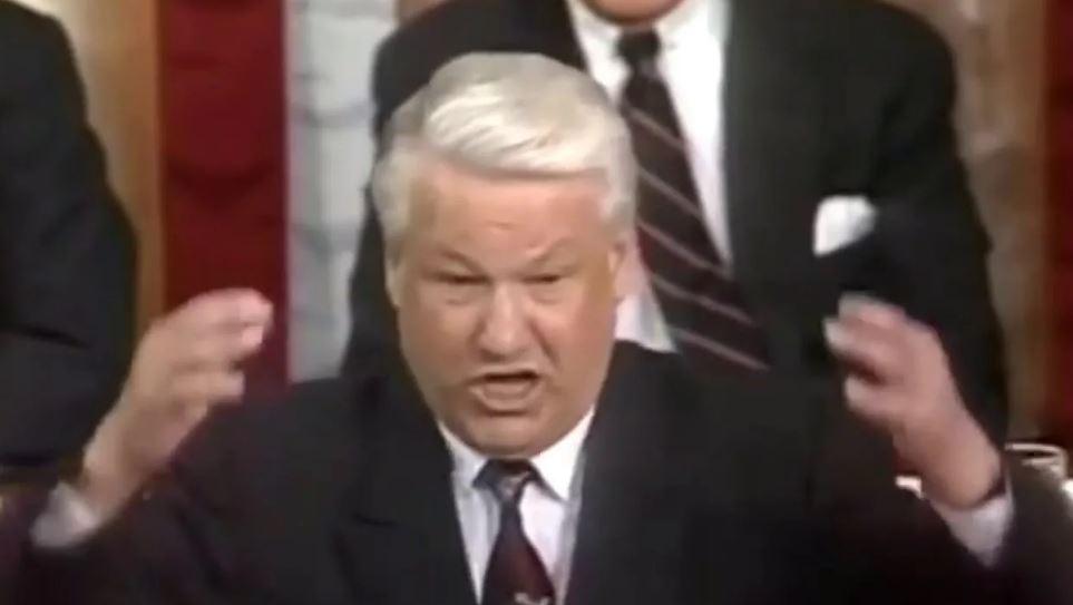Ельцин выступает в конгрессе США (иллюстрация - стоп-кадр видео)