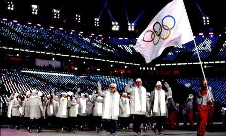 Российские спортсмены без знаков отличия на зимней Олимпиаде 2018 года (иллюстрация из открытых источников)