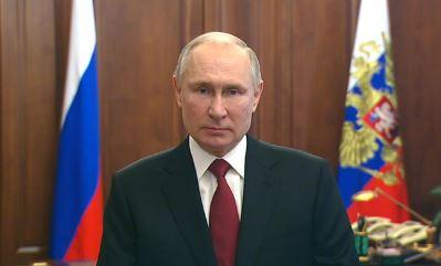 Владимир Путин поздравил российских граждан с Днём защитника Отечества. 23.02.2021 г. (стоп-кадр выступления президента)