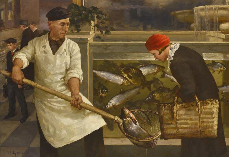 Картина «В рыбном магазине», 1939 год (иллюстрация из открытых источников)