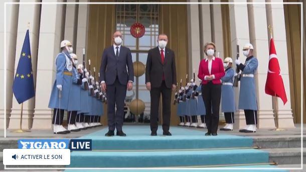 Реджеп Тайип Эрдоган, президент Европейского совета Шарль Мишель и Урсула фон дер Ляйен в Анкаре (скриншот видео Le Figaro).