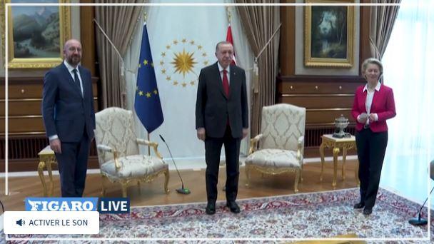 Реджеп Тайип Эрдоган, президент Европейского совета Шарль Мишель и Урсула фон дер Ляйен в Анкаре (скриншот видео Le Figaro)