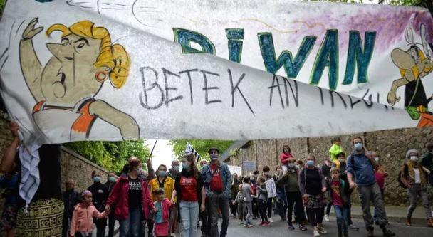 29 мая, в Генгаме демонстранты вышли на улицы в защиту региональных языков (фото AFP)