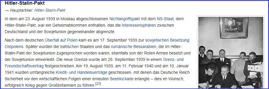 Скриншот немецкой Википедии, глава «Пакт Гитлера-Сталина»