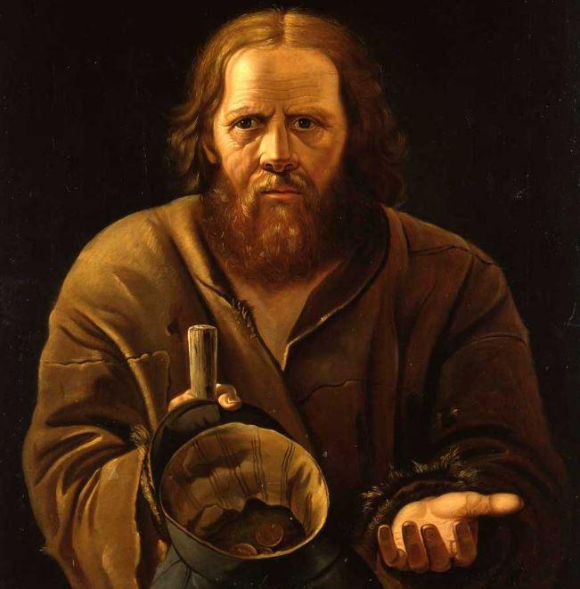 Художник Василий Григорьевич Перов, картина «Нищий, просящий милостыню», XIX век